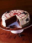 Sachertorte decorated with a spider web
