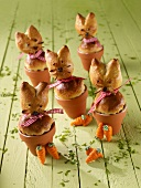 Yeast dough bunnies baked in mini flowerpots