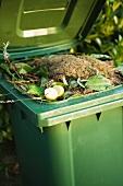Gefüllter Kompostcontainer mit offenem Deckel