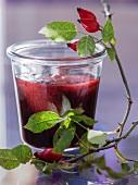 Rose hip jam in a jar