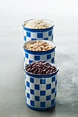 Beans, chickpeas and oats in canisters