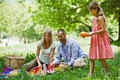 Junge Familie beim Picknick im Freien