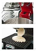 Whipped Egg Whites on Electric Mixer for Waffle Batter; Pouring Waffle Batter into a Waffle Iron