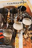 Masala chai tea in metal cups