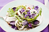 Dandelion leaf salad with violets