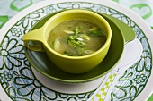 Lettuce soup with spring onions