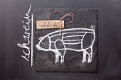 A sketch of a pig and a written label on a chalkboard