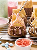 Small house-shaped cakes