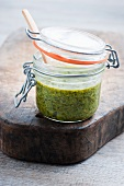 A jar of asparagus pesto