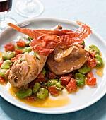 Sautéed chicken with Serrano ham