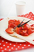 Tomato and strawberry salad with a vanilla vinaigrette