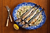 Mackerel on a bed of corn salad