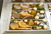 Bars of chocolate with candied fruits and nuts