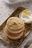 Two Stacked Lemon Whoopie Pies