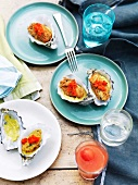 Gratinated oysters with sweetcorn puree and chilli sauce