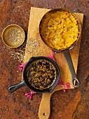 Dal tadka (cooked yellow lentils, India) and roasted fennel seeds