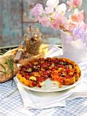Sliced vegetable tart
