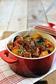 Beef, potato, pepper and tomato strew