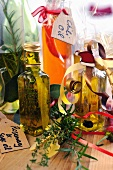 Home-made aromatic oils in bottles as gifts