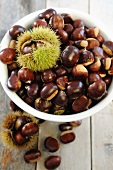 A bowl of edible chestnuts
