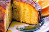 Sliced semolina cake with orange syrup (close-up)