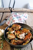 Fried guinea fowl with rosemary and sage