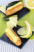Pineapple and lime eclairs