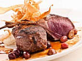 Grilled Lamb Chops with Grapes, Mashed Potato and Deep Fried Potato Strips