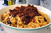 Home-made tagliatelle with a meat ragout