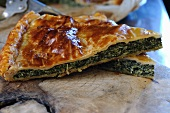 A puff pastry spinach and ricotta pie