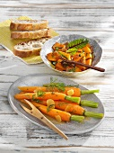 Carrots with ginger and sweet-and-sour pumpkin