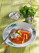 Glazed carrots with apple and mint quark