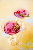 Hibiscus drinks with lemon and lemon balm