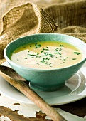 Creamy root vegetable soup with chives