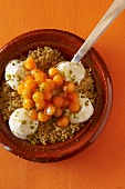 Sweet bulgur wheat with melon and honey