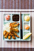 Tonkatsu with dips and salad (breaded escalope, Japan)