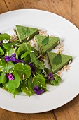 Parietaria terrine with a lime leaf salad and violets
