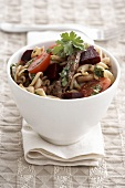 Pasta with beef, tomatoes and beetroot