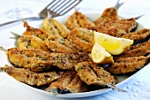 Fried sardines with a herb and Parmesan crust