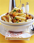 Penne with butternut squash and walnuts