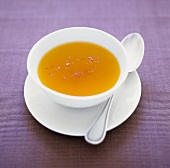 Chicken broth with saffron (Hungary)