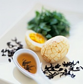 Marbled egg and smoked Chinese tea