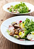 Fried chicken liver with cress salad