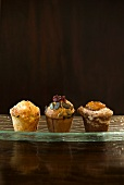 Pepper and cheese muffins, carrots and cranberry bran muffins and banana and cinnamon muffins