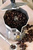 Coffee beans in an espresso maker