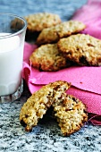 Oat biscuits and a glass of milk