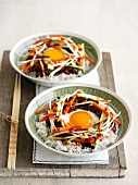 Rice with beef, vegetables and a fried egg (Korea)