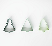 Three Assorted Shaped Tree Cookie Cutters on White