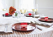 Table Set with Name Tag Place Settings; White Wine