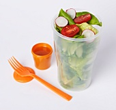 Salad in a To-Go Container with a Small Container of Dressing and a Plastic Fork